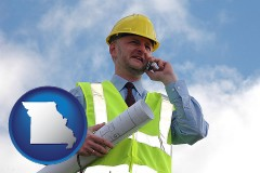 missouri map icon and an architect with blueprints, conversing on a cellular phone