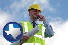 texas map icon and an architect with blueprints, conversing on a cellular phone