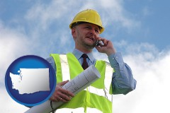 washington map icon and an architect with blueprints, conversing on a cellular phone
