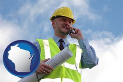 wisconsin map icon and an architect with blueprints, conversing on a cellular phone