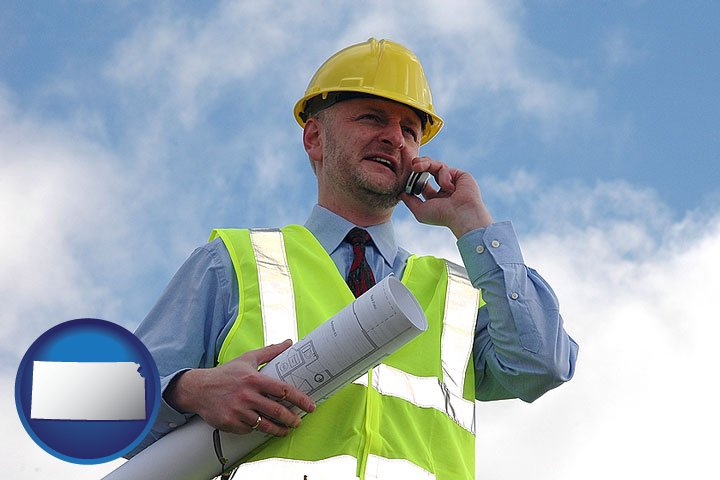 Architects in kansas an architect with blueprints conversing on a cellular phone with kansas icon malvernweather Image collections