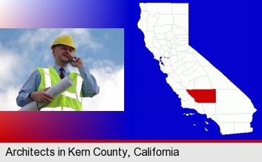 an architect with blueprints, conversing on a cellular phone; Kern County highlighted in red on a map