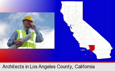 an architect with blueprints, conversing on a cellular phone; Los Angeles County highlighted in red on a map