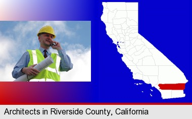 an architect with blueprints, conversing on a cellular phone; Riverside County highlighted in red on a map