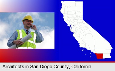 an architect with blueprints, conversing on a cellular phone; San Diego County highlighted in red on a map