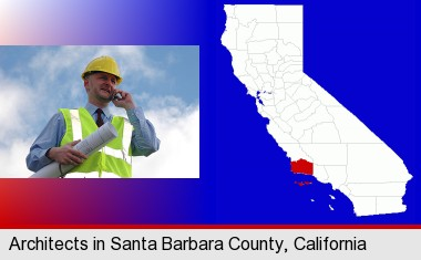 an architect with blueprints, conversing on a cellular phone; Santa Barbara County highlighted in red on a map