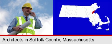 an architect with blueprints, conversing on a cellular phone; Suffolk County highlighted in red on a map