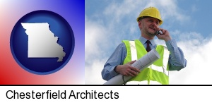 Chesterfield, Missouri - an architect with blueprints, conversing on a cellular phone